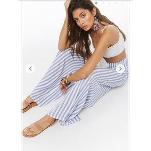 Striped Smocked-Waist Palazzo Pants Forever 21
